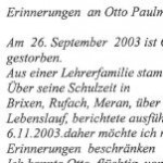 Erinnerungen an Otto Paulmichl - von Arthur Obwexer