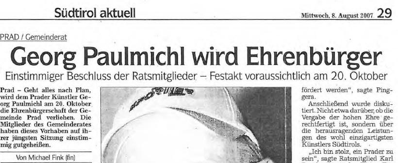 Georg Paulmichl wird Ehrenbürger, Dolomiten, 08.08.2007