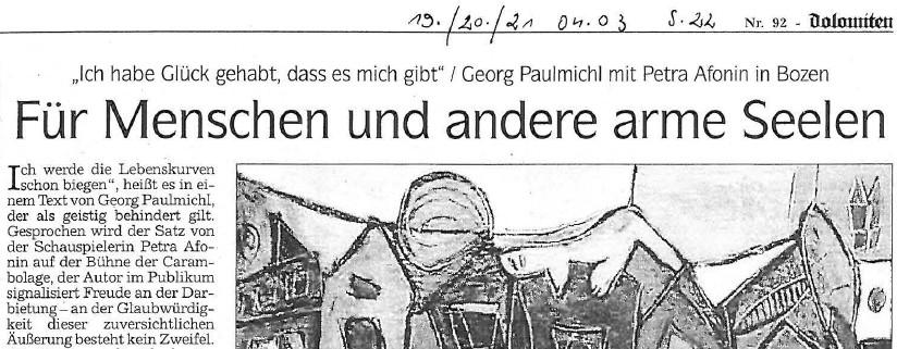 Menschen und andere arme Seelen, Dolomiten,  19.04.2003