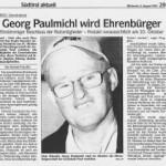 Georg Paulmichl wird Ehrenbürger - Artikel, Dolomiten, 08.08.2007