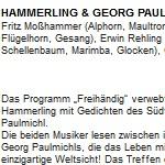 """Hammerling & Georg Paulmichl mit """"freihändig"""" - am 23.10.2013, Lesung mit Konzert, Saalfelden, Kunsthaus Nexus"""
