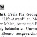 Behinderte erstmals mit Life Award geehrt - Artikel, Internet, 03.12.2003