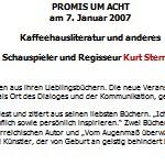 Lesung und Publikumsgespräch, mit Kurt Sternik - am 07.01.2007, Lesung, Literaturhaus am Land, Sulz
