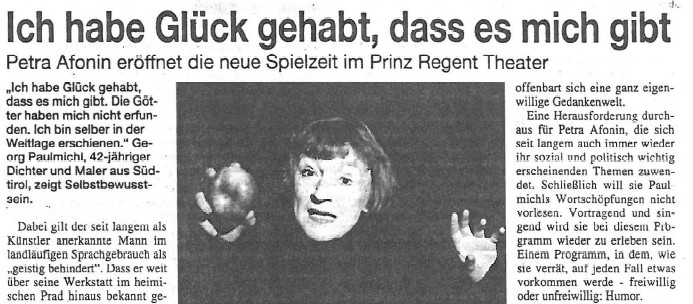 Ich habe Glück gehabt, dass es mich gibt, Stadtspiegel, 11.09.2002