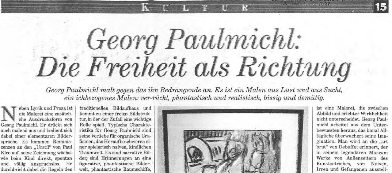 Georg Paulmichl, die Freiheit als Richtung, Tageszeitung, 13.05.2003