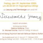 Georg Paulmichl liest zur Vernissage - am 29.09.2000, Lesung zur Vernissage, Tagungshaus Wörgl