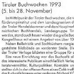 Tiroler Buchwochen 1993 - Artikel, Kulturberichte aus Tirol, Dezember 1993