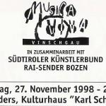 """Georg Paulmichl Lesung, """"Der Vinschgau in der Kunst"""" - am 27.11.1998, Lesung, Schlanders, Kulturhaus Karl Schönherr"""