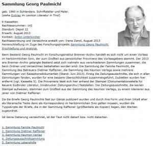 Forschungsinstitut Brenner-Archiv Bestandsverzeichnis