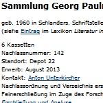 Sammlung Georg Paulmichl - Bestandsverzeichnis. Brenner-Archiv, Universität Innsbruck
