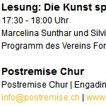 Die Kunst spriesst aus allen Kräften und Nöten - am 10.11.2012, Lesung, Langer Samstag, Chur