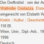 """""""Der Dorftrottel"""", Dipl.-Arb., 1996 - Von der Ausweichlichkeit eines Schicksals. Mit Beispielen aus dem Vinschgau"""