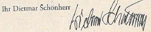 Ihr Dietmar Schönherr, Signatur