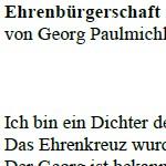 Ehrenbürgerschaft - ein Gedicht von Georg Paulmichl