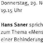 """Hans Saner spricht zum Thema """"Menschen mit einer Behinderung"""" - am 29.11.2001, Vortrag, Zürich, Kirche des Schweizerischen Epilepsie-Zentrums"""