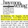 Verlagsinformation und Einladung, Haymonverlag, Tiroler Volksschauspiele