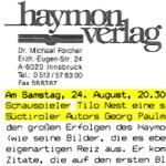 Verlagsinformation und Einladung, Haymonverlag, Tiroler Volksschauspiele - szenische Rezitation, Tilo Nest bringt Georg Paulmichl Texte in Telfs