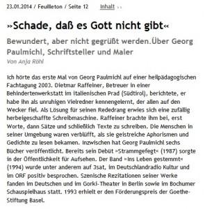 """""""Schade, daß es Gott nicht gibt"""". Bildausschnitt, junge Welt, Anja Röhl"""