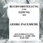 Verkürzte Landschaft, Buchpräsentation - am 06.04.1990, Buchpräsentation, Kulturhaus Lana