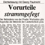 Vorurteile strammgefegt, Dichterlesung mit Georg Paulmichl - Artikel, Alto Adige, 24.01.1988