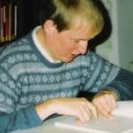 """Georg Paulmichl liest aus """"strammgefegt"""" - am 19.12.1987, Lesung zur Buchpräsentation, Bibliothek Schloss Schlandersburg"""