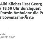 Albi Klieber liest Georg Paulmichl - am 30.11.2001, Lesung, Zahnarztpraxis Löwenzahn, Zürich