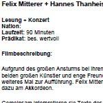 Felix Mitterer und Hannes Thanheiser lesen Georg Paulmichl - am 13.01.2011, Lesung und Konzert, Cinema Paradiso