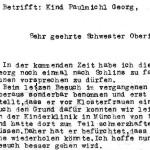 Betrifft: Kind Paulmichl Georg - Korrespondenz, Otto Paulmichl an die Direktion der allg. Landessonderschule Jupident