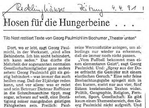 Recklinghäuser Zeitung, Hosen für die Hungerbeine