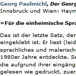 Für die einheimische Sprachkultur bin ich eine Erlösungsphase - Der Georg, Rezension, von Bernhard Sandbichler, 2009