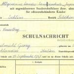 Schulnachricht - Allgemeine Landes-Sonderschule Jupident, Schuljahr 1973/74