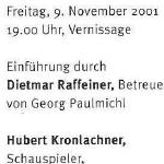 Hubert Kronlachner liest ausgewählte Texte - am 09.11.2001, Lesung und Konzert, Zürich, Kirche des Schweizerischen Epilepsie-Zentrums