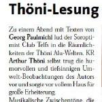 Arthur Thöni liest Georg Paulmichl - am 18.02.2005, Lesung, Alu-Welten, Telfs