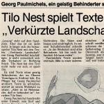 """Tilo Nest spielt Texte aus """"Verkürzte Landschaft"""" - Artikel, Ruhr Nachrichten, 23.03.1991"""