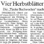 Vier Herbstblätter vom Bücherbaum - Artikel, Tiroler Tageszeitung, 11.11.1993