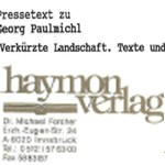 Verkürzte Landschaft, Haymonverlag, Presseinformation - Presseinformation zum Rezensionsexemplar
