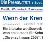 Wenn der Kren Hilfe holt - Artikel, Die Presse, 14.12.2007